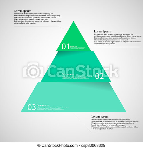 Light illustration inforgraphic with triangle divided to three parts
