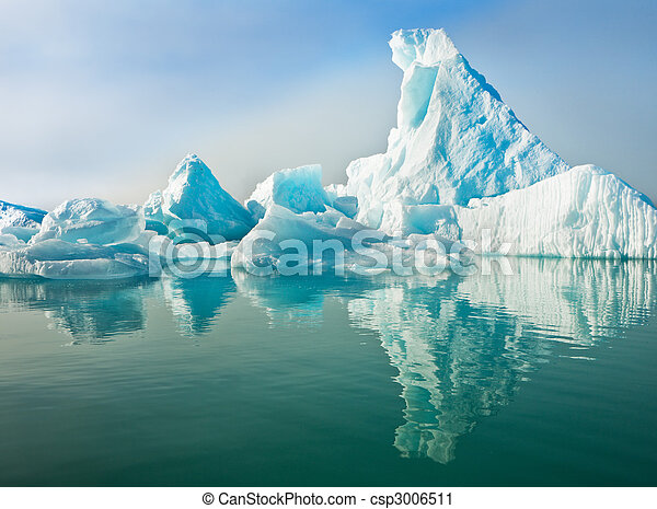Icebergs Floating in Calm Water - csp3006511