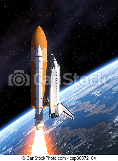 Space Shuttle Takes Off - csp30072104