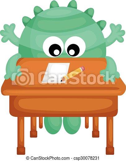 Tisch schule clipart  Vektoren von tisch, schule, grünes monster - Green, Monster, On ...