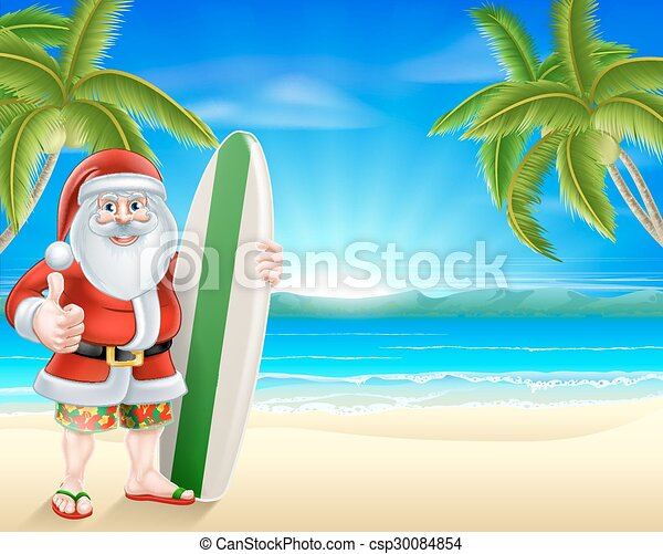 Clipart Vector of Tropical beach Santa - Cartoon Santa holding a ...