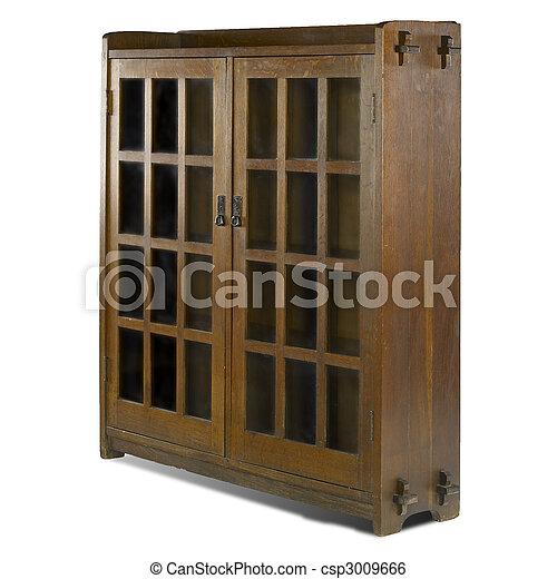 arts and crafts glass door bookcase - csp3009666