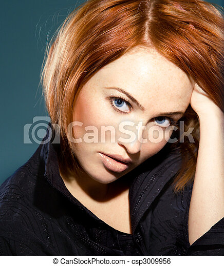 tender red-haired woman - csp3009956