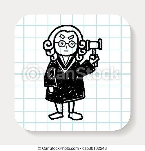 lawyer judge doodle - csp30102243