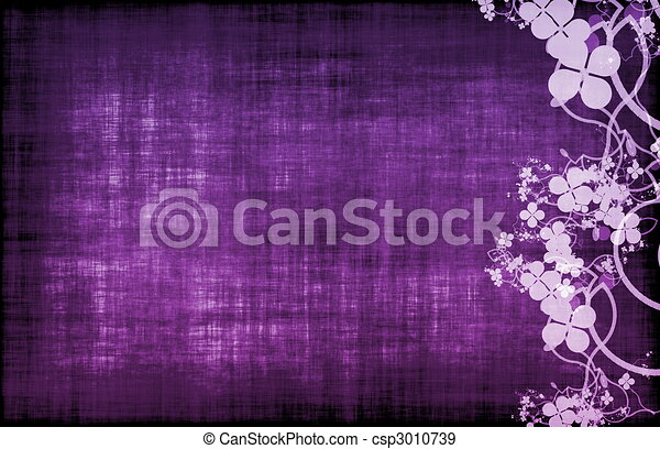 Purple Grunge Floral Decor - csp3010739