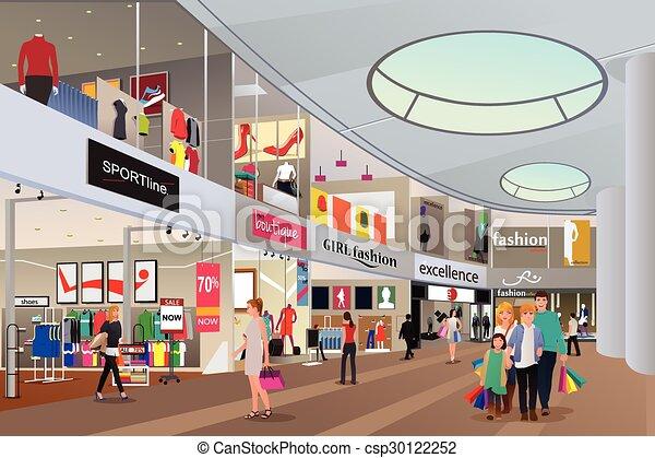 Clipart vektor von einkaufszentrum shoppen leute a for Meine wohnung click design free