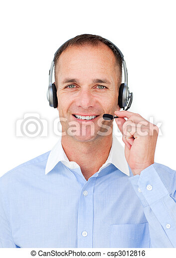 Self-assured mature businessman using headset - csp3012816