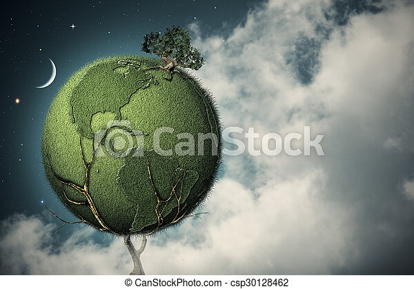 Under the night skies. Earth tree, abstract environmental backgrounds
