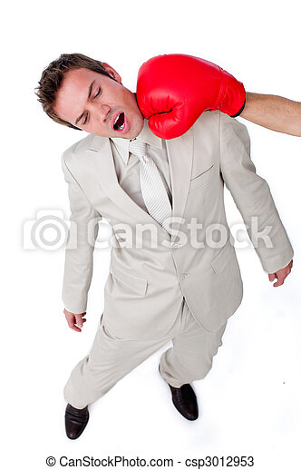 Attractive businessman being hit with a boxing glove - csp3012953