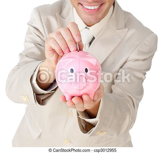 Close-up of a businessman saving money in a piggy-bank - csp3012955
