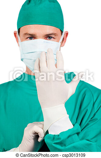 Self-assured surgeon wearing surgical gloves - csp3013109