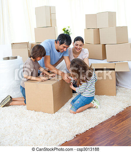 Animated family packing boxes - csp3013188