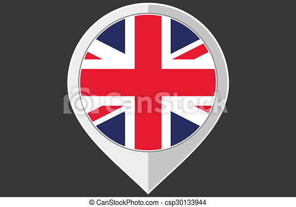 Pointer with the flag of United Kingdom - csp30133944
