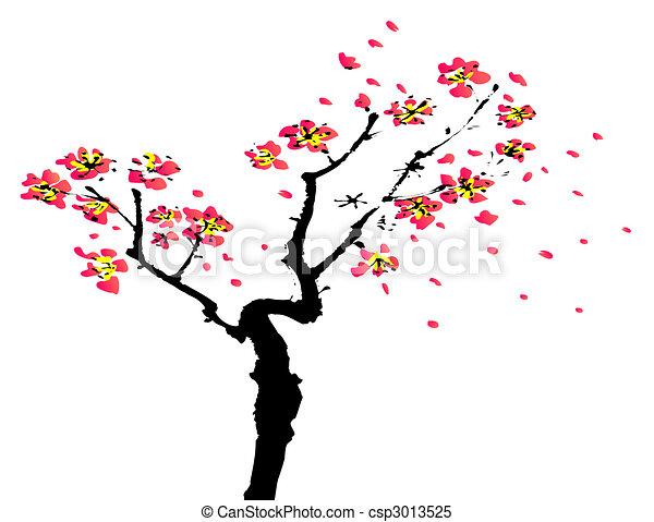 pintura, sakura, chino - csp3013525