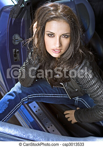 expressional woman in the car - csp3013533