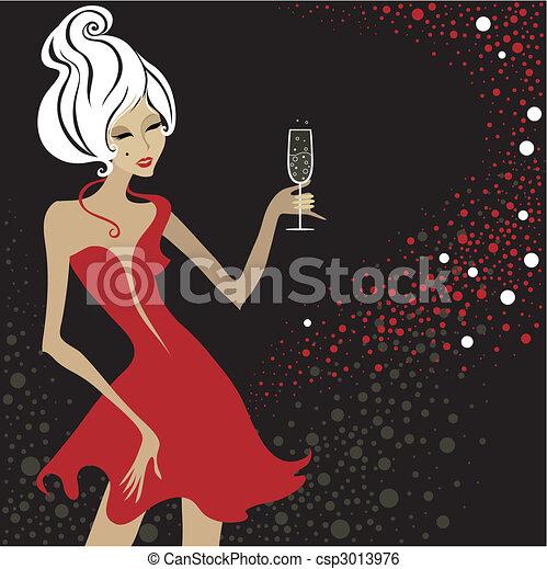 vintage blond woman - csp3013976
