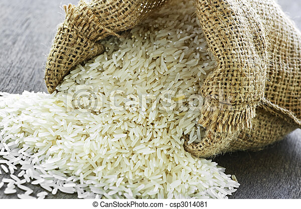 Long grain rice in burlap sack
