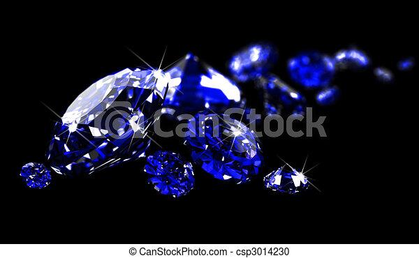 Sapphires on black surface   - csp3014230