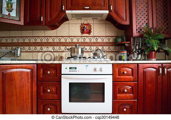 Interior of a wooden kitchen