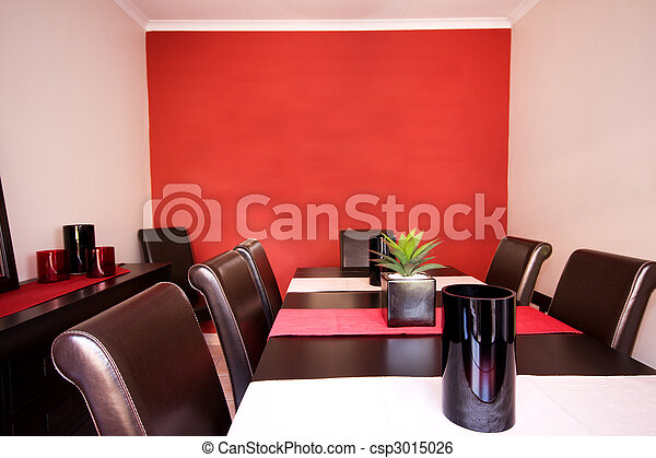 Dining room interior with red wall - csp3015026