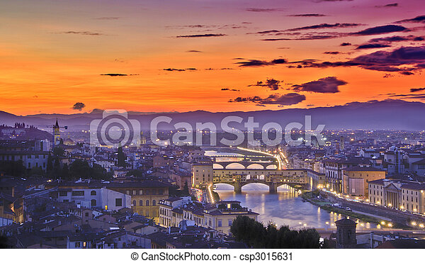 Sonnenuntergang, Florenz - csp3015631