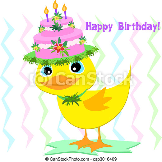 feliz, cumpleaños, sombrero, pato - csp3016409