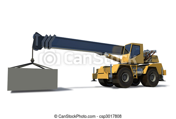 Mobile crane with a load on the jib crane. The cargo is ready for Drawing. White background. - csp3017808