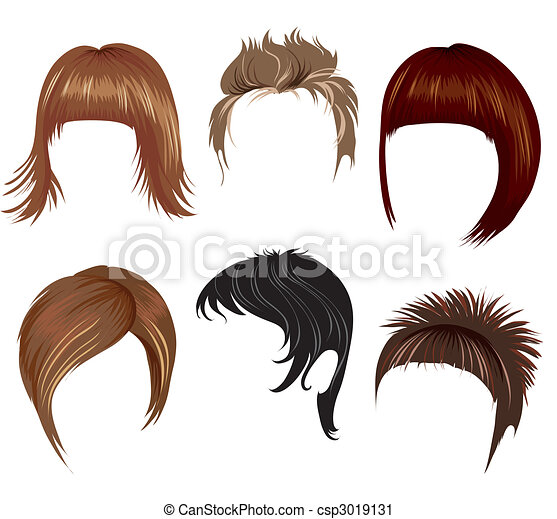 Vector Clip Art Of Hair Styling For Woman Set Of Trendy