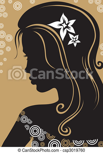 Vector closeup portrait of woman  - csp3019760