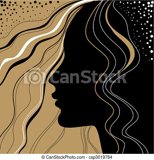 Vector closeup portrait of woman  - csp3019764