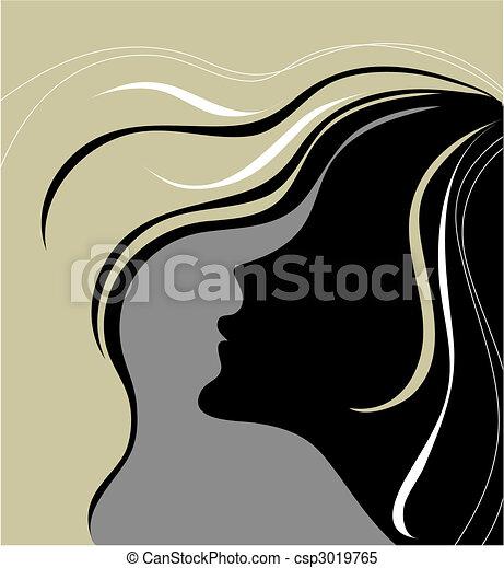 Vector closeup portrait of woman  - csp3019765