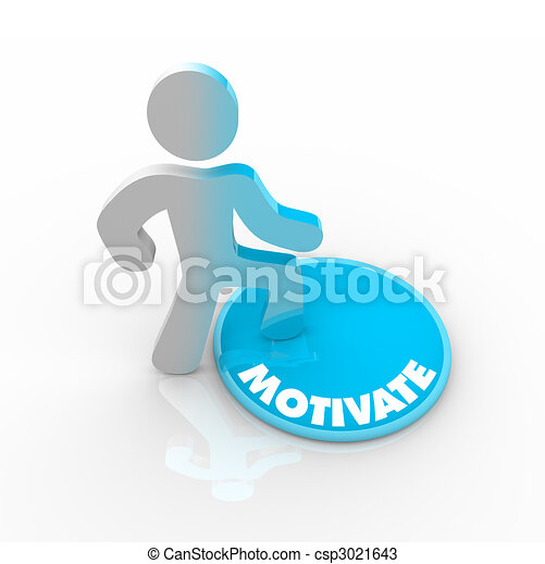 Person Stepping Onto Motivate Button - csp3021643