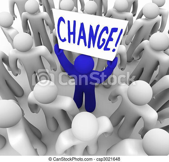 Change - Person Holding Sign in Crowd - csp3021648