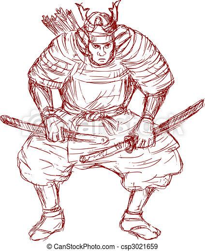 samurai warrior with sword in fighting stance - csp3021659