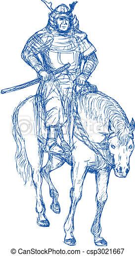 samurai, guerrero, equitación, caballo, espada - csp3021667