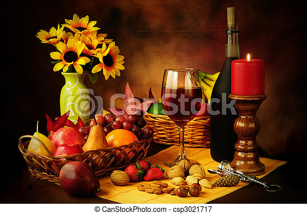Wine, fruit and nuts still life - csp3021717