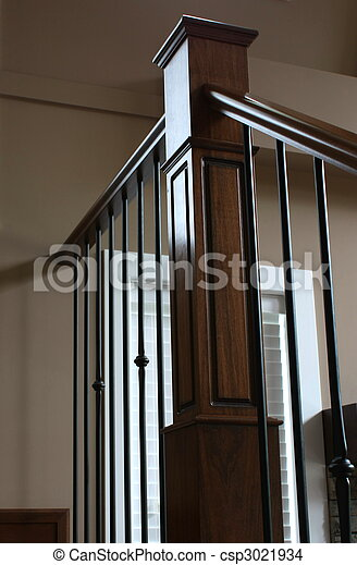 Stock Photo of Staircase handrail in wrought iron and oak ...