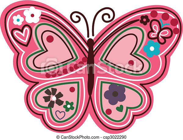 blommig, fjäril, illustration - csp3022290