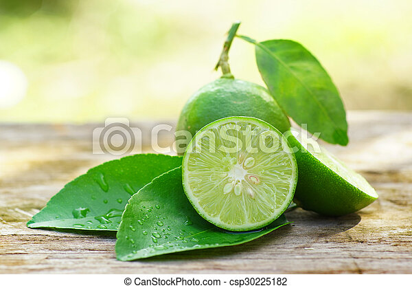lemon with green leafs