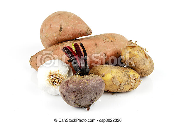 Sweet Potato with Garlic, Beetroot and Potatoes - csp3022826