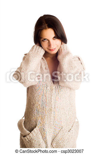young beautiful woman in a knitted garment - csp3023007