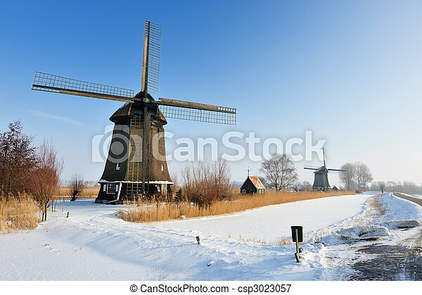 Beautiful winter windmill landscape - csp3023057