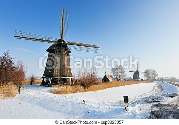 bonito, moinho de vento, Inverno, paisagem - csp3023057