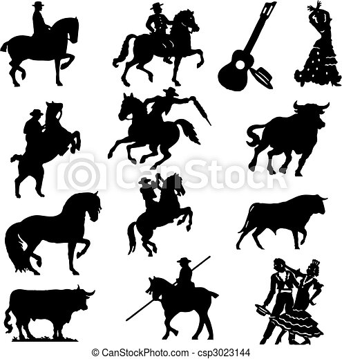 Set of silhouette typical spanish  - csp3023144