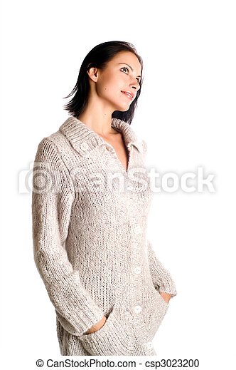young beautiful woman in a knitted garment - csp3023200