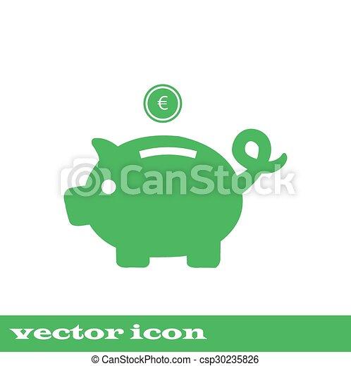 Ilustraciones de Vectores de ahorro dinero  verde hucha
