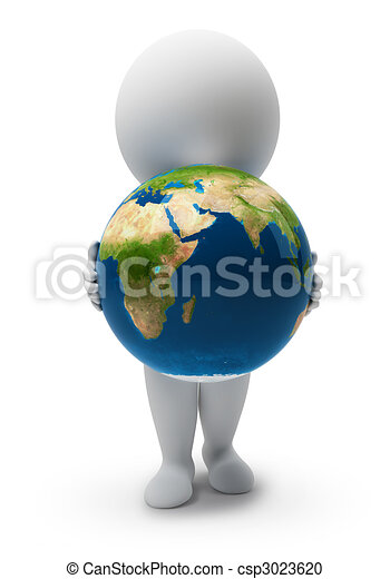 3d small people-Earth - csp3023620