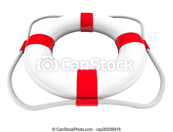 Life Preserver Water Rescue Saver SOS Coast Guard 3d White Red - csp30236918