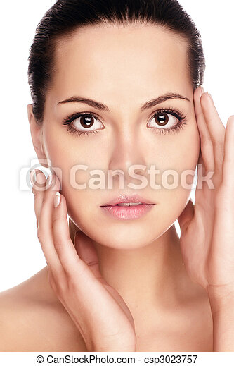Portrait of young adult woman with health skin of face - csp3023757