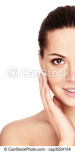 Portrait of young adult woman with health skin of face - csp3024104